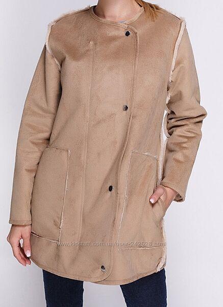 Эко  дублёнка пальто шуба двусторонняя эко мех
