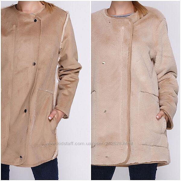 Куртка пальто меховая Springfield двусторонняя эко мех
