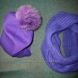 Модная шапка с меховым бонбоном  и шарф