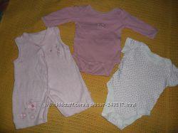 Пакет вещей 15шт, девочке 0-3мес, новорожденной, боди, человечки