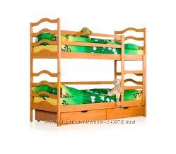 Двухъярусная кровать с ящиками и матрасами  Акция