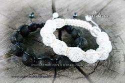 Браслеты Шамбала из натуральных камней. Пара дешевле