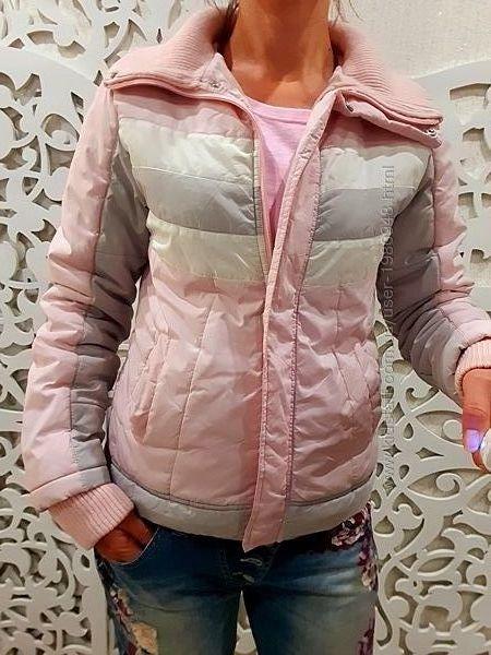 Куртка женская нежная розовая Британия  воротник стойка пуховик S