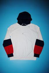 Толстовка L худи женская свитшот с капюшоном белый синий красный