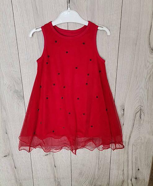 Платье красное с фатином