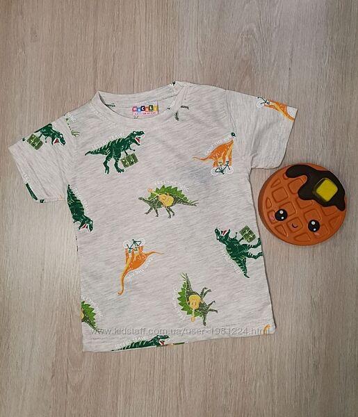 Детская футболка для мальчика с динозавром серая, от 1 до  8 лет