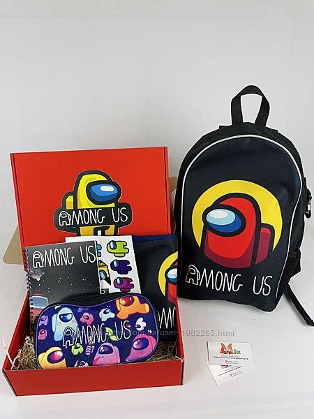 Among Us Школьный набор Рюкзак пенал сумка-мешок подарочный бокс Амонг Ас S