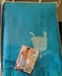 Полотенце юбка, килт для бани сауны мужское махровое с вышивкой