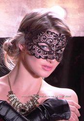 Карнавальная маска, черная, кружево