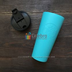 Термокружка с тисненным логотипом Starbucks, голубая матовая. 475мл