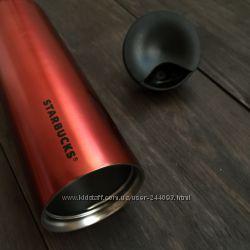 Уценка. Термокружка Starbucks в форме цилиндра, красного цвета, 475мл