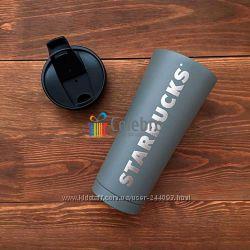 Термокружка Starbucks серая матовая. 475мл
