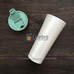 Термокружка Starbucks белого перламутрового цвета. 475мл