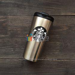 Термокружка Starbucks стального цвета с черным логотипом. 475мл