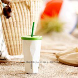 Гранёный стакан из нержавеющей стали для холодных напитков, белый перламутр