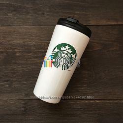 Термокружка Starbucks белая с зеленым логотипом. 475мл