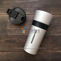 Термокружка Starbucks с силиконовым ободком, серая. 475мл. Оригинал