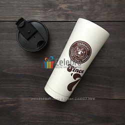 Термокружка Starbucks, бежевого цвета. 355мл