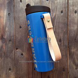 Термокружка Starbucks синяя кожаной ручкой. 475мл