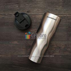 Термокружка Starbucks Stainless Steel Swirl Tumbler - Серая 475мл