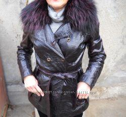 Кожаная куртка, теплая, воротник-енот