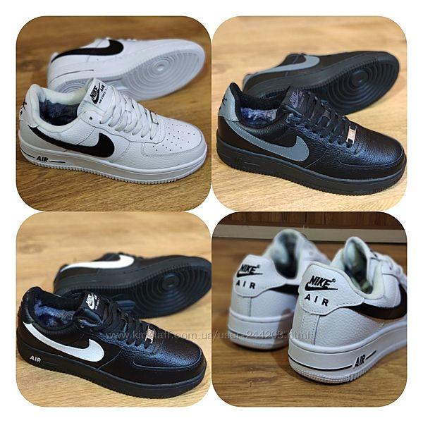 Мужские зимние кожаный кроссовки Nike Air Force , 41-46-й р.