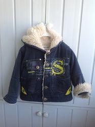 Джинсовка, курточка на меху, куртка, меховушка на 1, 5 года