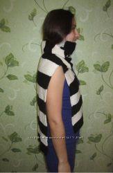 длинный полосатый черно-белый шарфик и шарф снуд цены осуждаются хендмейд