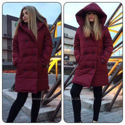 Ультрамодное зимнее пальто оверсайз цвет Бургунди 42-46 р