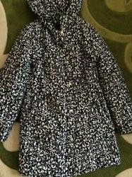 Куртка длинная пальто на синтипоне 44-46 черно-белый принт