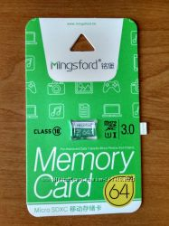 Карта памяти microSD, Mingsford, C10, 64Gb, Новые, В Наличии