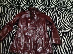 Кожанный утеплённый пиджак стильный Бордо