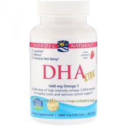 Nordic Naturals, Детская подросток Омега DHA Xtra, Strawberry 1660 mg, 60 шт