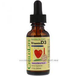 ChildLife, Витамин D3, натуральный аромат ягод, 29, 6 мл