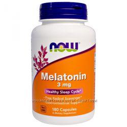 Now Foods, Мелатонин, 3 мг, 60 и 180 капсул Здоровый сон