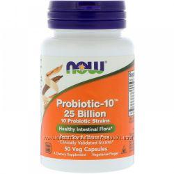 Now Foods, Лучший пробиотик  Probiotic-10, 25 млрд, 50 шт