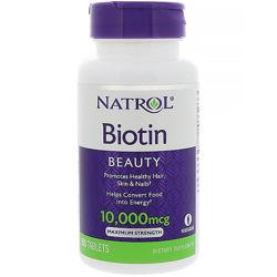 Natrol, Биотин, 10 000 мкг, 100 таблеток