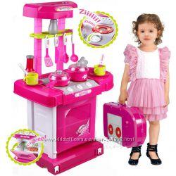 Детская игровая кухня 008-58 в чемоданчике, звук, свет, посудка