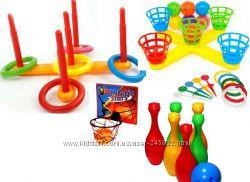 Напольные игры кольцеброс 5колец шароброс баскетбол 5корзин 5, 7 шаров