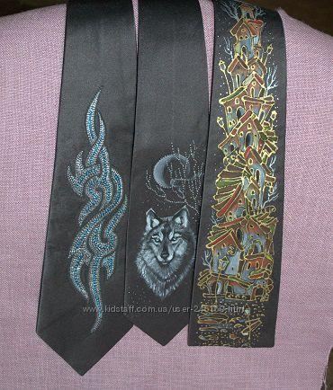 Продам галстуки из серого шёлка с росписью
