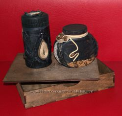 Подарочный набор для чая, кофе, ручная работа, кожа.