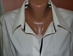 Качественная натуральная молочно-белая рубашка женская, размер 48