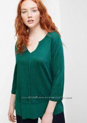 Бирюзовая льняная блуза Mango 48-50
