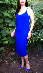 SALE Кобальтовое вискозное миди платье H&M  S-M