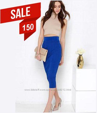 Кобальтовая юбка карандаш ХS-S-M Распродажа