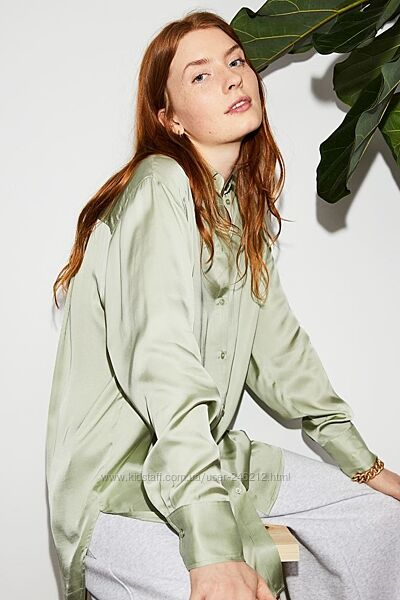 Фисташковая рубашка H&M из вискозы S/M