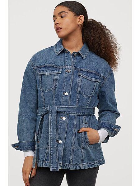 Джинсовая курточка H&M  c поясом L/XL
