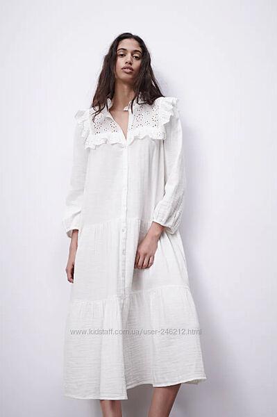 Великолепное  муслиновое платье от Zara S-M-L