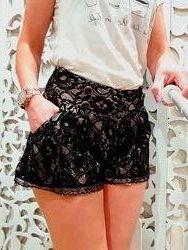 Шорты юбка женские ажурные с карманами черные S / M атласные