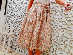 Юбка женская H&M миди хлопковая расклешенная цветная бежевая asos zara